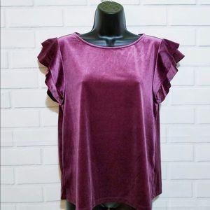 Halogen Velvet 2-layer Sleeves Blouse